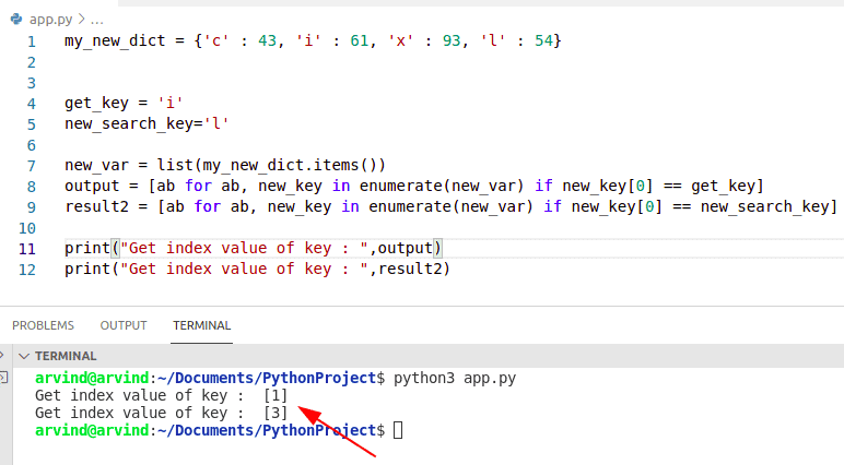 Python dictionary get key value by index