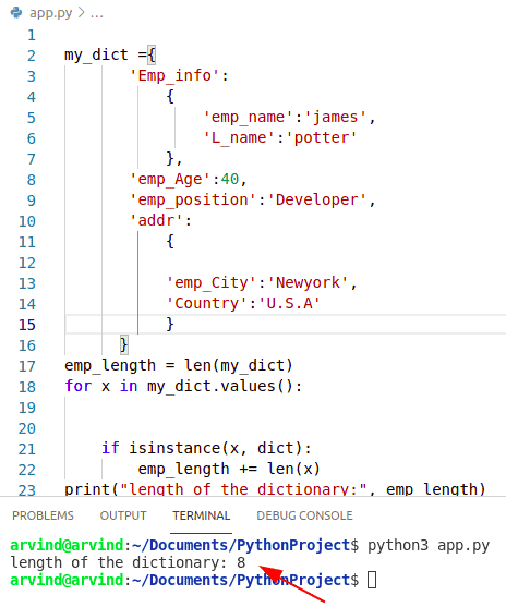 Python dictionary length by instance method