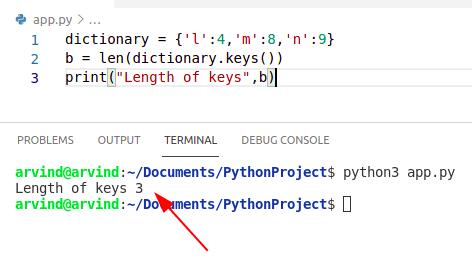 Python dictionary length of keys