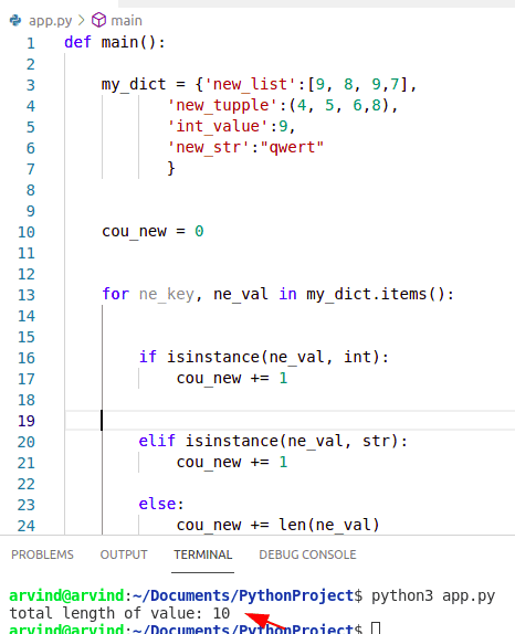 Python dictionary length of values by dict.items