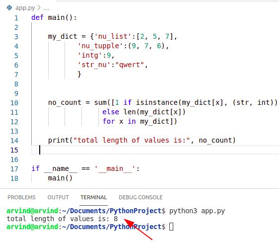 Python dictionary length of values
