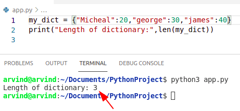 Python dictionary length