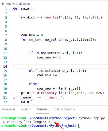 Python dictionary list length