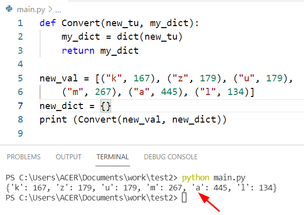 Python dictionary of tuples using dict