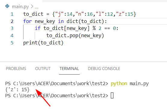 Python dictionary pop during iteration