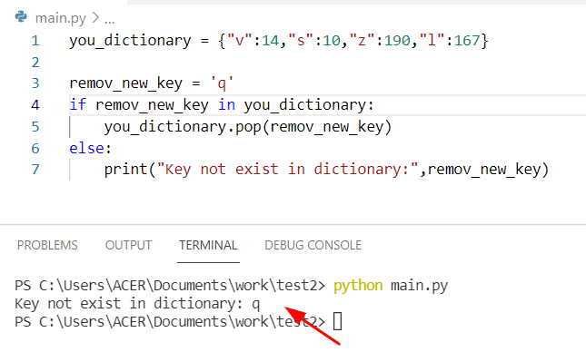 Python dictionary pop if exists
