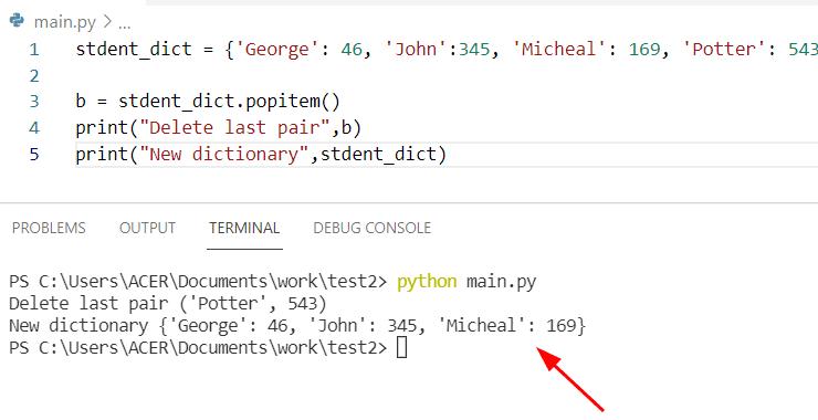 Python dictionary pop item