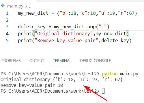 Python dictionary pop key and value