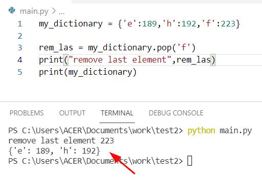 Python dictionary pop last element