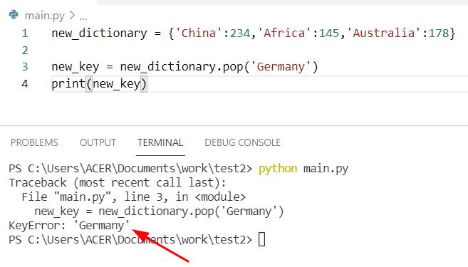 Python dictionary pop method