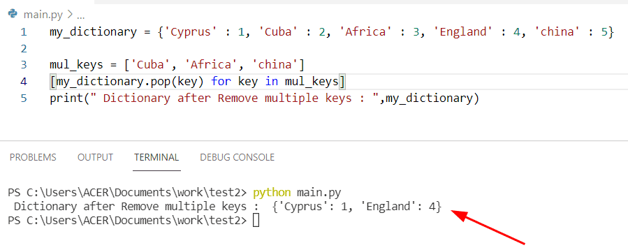 Python dictionary pop multiple keys