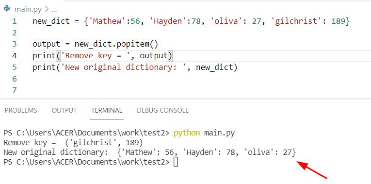 Python dictionary pop vs popitem
