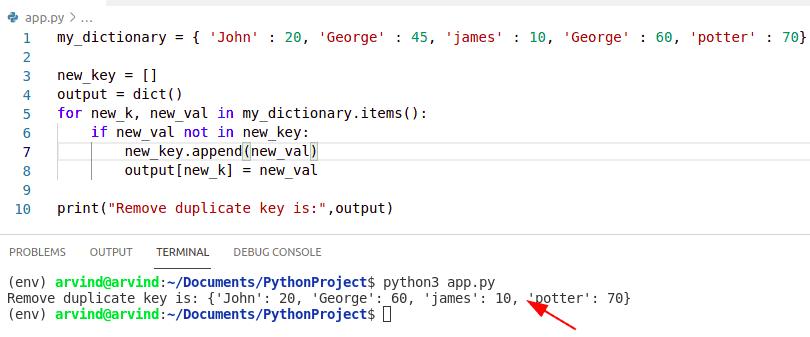 Python dictionary remove duplicate keys