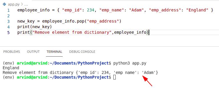 Python dictionary remove element pop