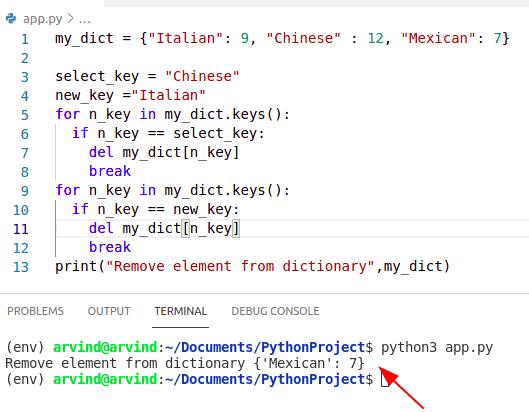 Python dictionary remove element