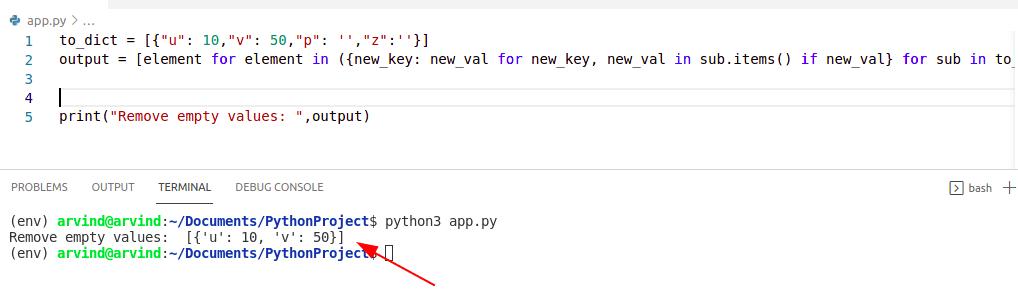 Python dictionary remove empty values