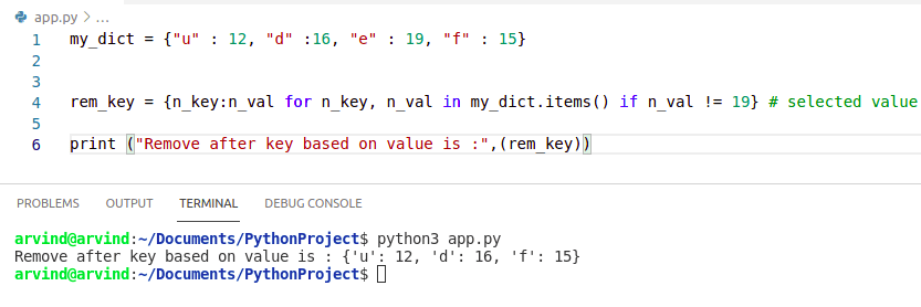 Python dictionary remove key based on value