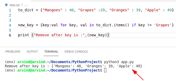 Python dictionary remove key from dict comprehension