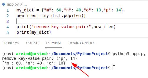 Python dictionary remove key value pair
