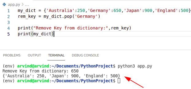 Python dictionary remove key