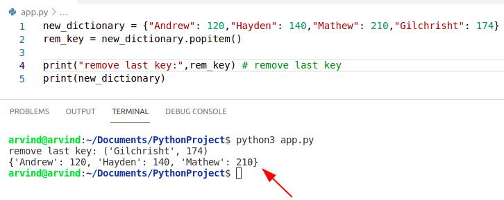 Python dictionary remove last key