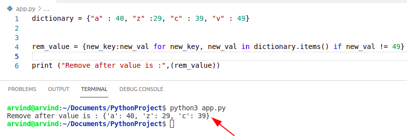 Python dictionary remove value