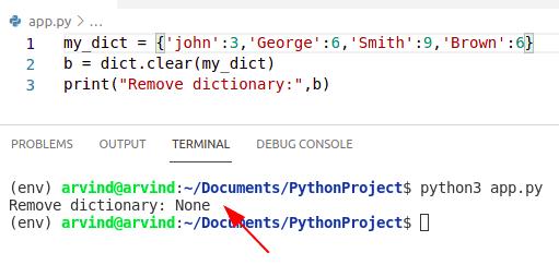 Python  dictionary remove