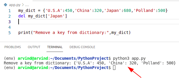 Python dictionary remove key from del