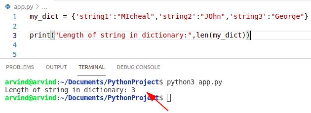 Python dictionary string length method