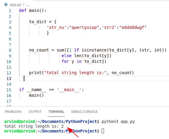 Python dictionary string length