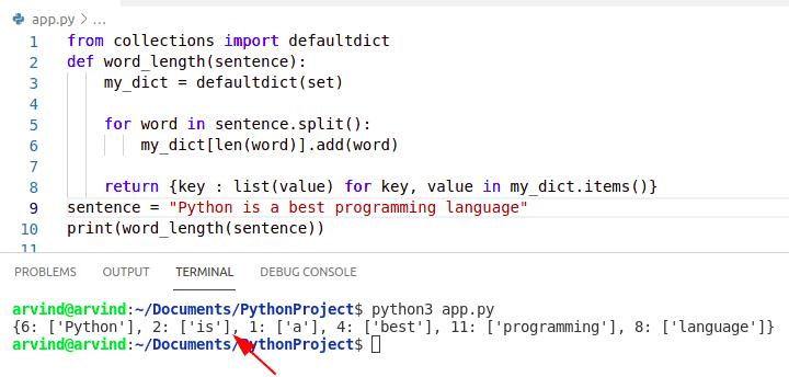 Python dictionary word length
