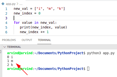 Python for loop index and value