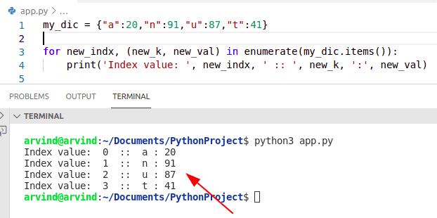 Python for loop index dictionary