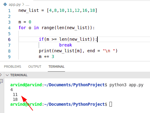 Python for loop index increment