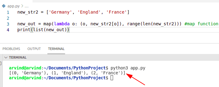 Python for loop index map function
