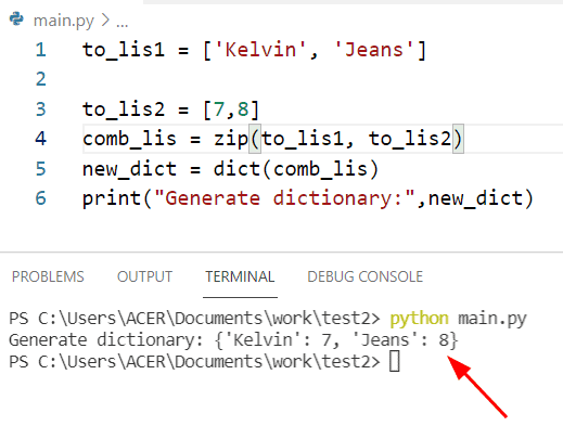Python generate dict from two lists