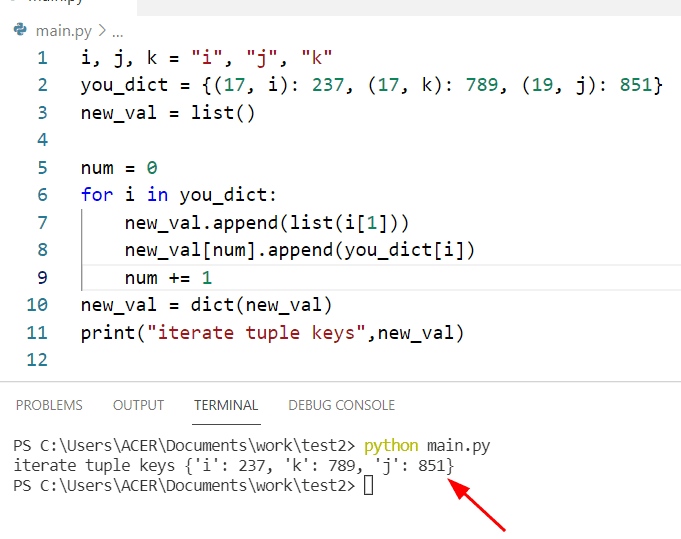 Python iterate dictionary with tuple key