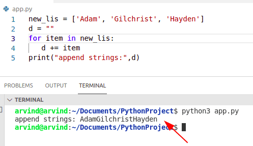 Python loop through list and append to string