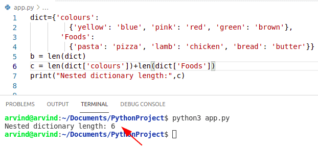 Python nested dictionary length method