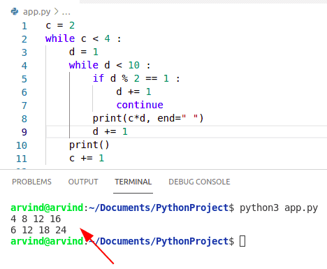Python nested while loop continue