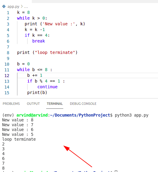 Python while loop break and continue