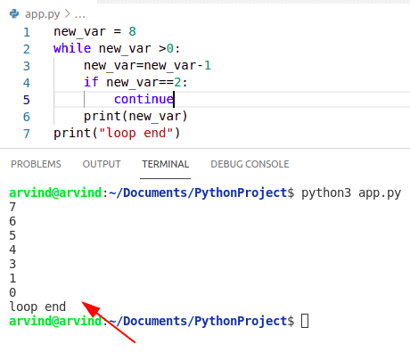 Python while loop continue