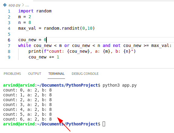 Python while loop double condition method