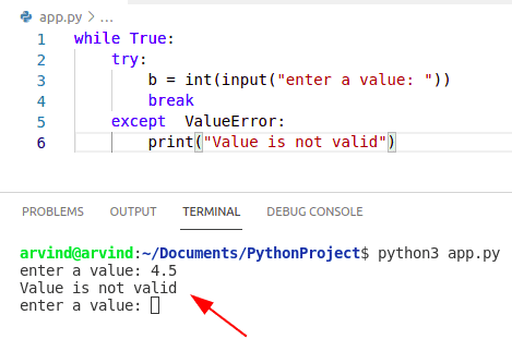 Python while loop exception continue