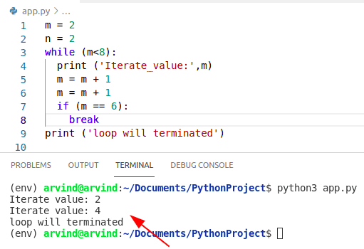 Python while loop if condition