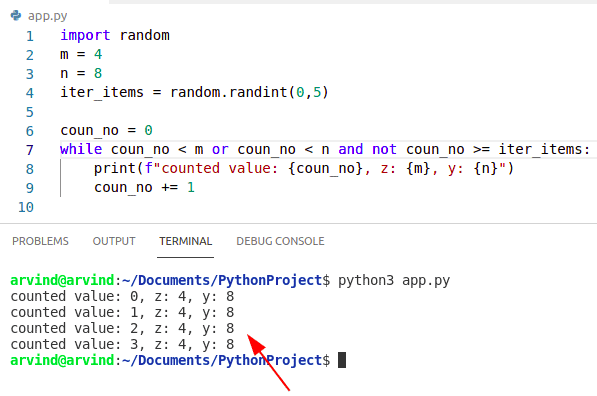 Python while loop multiple condition by not operator