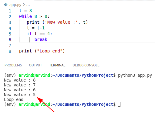 While loop continue Python example