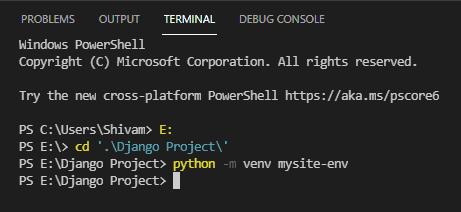 creating virtual environment in vs code for django