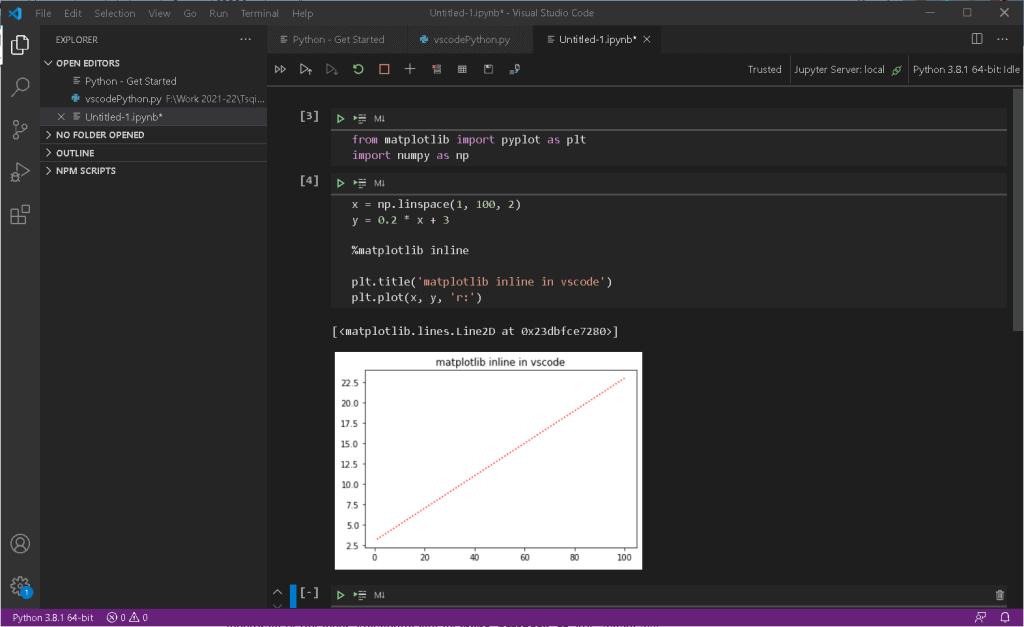 matplotlib inline in jupyter notebook extension for vscode