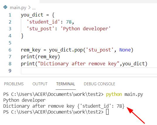 python dict pop vs popitem method